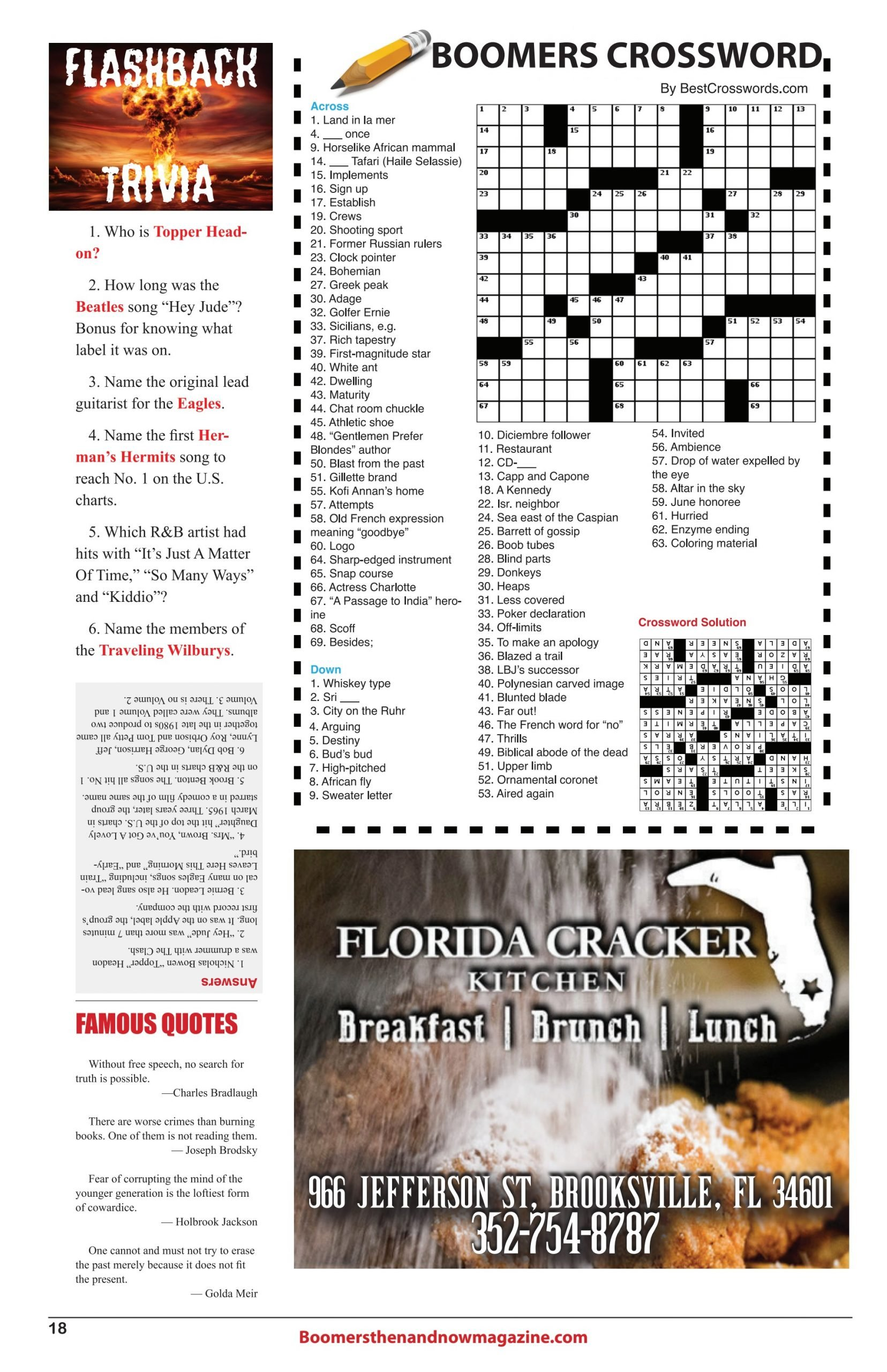 Boomers Crossword Puzzel